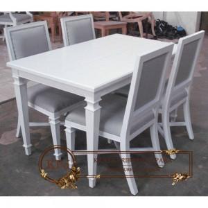 Set Meja Makan Minimalis Duco Putih