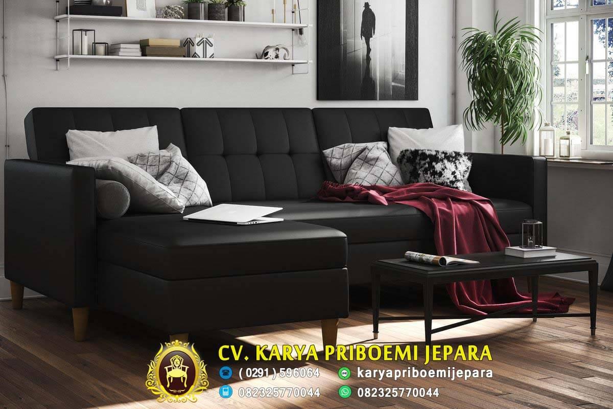 Sofa Sudut Minimalis Modern Kayu Jati Jepara